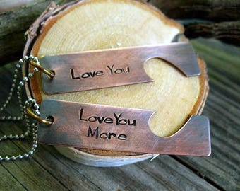 Couples Necklace, Handstamped Jewelry, His and Her Matching Necklace, Copper, Love You Set, Sweetheart Friendship Heart Necklace,