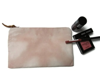 Pink Shibori pencil case, Pink Shibori cosmetic bag, Bridesmaids gift, Birthday gift, Hand dyed makeup bag, Pencil case, Gift for her