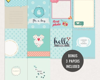 Newborn baby boy - Journal Cards - Instant Download Printable journaling cards for Project Life and digital scrapbooking