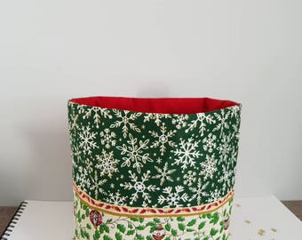 Organizer, basket, Christmas colors green and Red cotton and suede