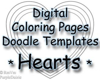 Printable Coloring Book Digital Color Pages Zen Doodle Templates Heart Coloring Page ZendDoodle Template Kids 4 PDF JPEG Instant Download