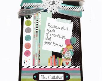 Teacher Gift Personalized Clipboard Polka Dot Daisy & Balloons
