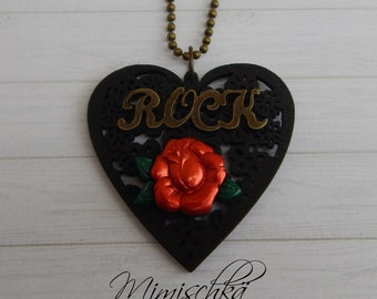 necklace pin up rockabilly rock black heart red rose