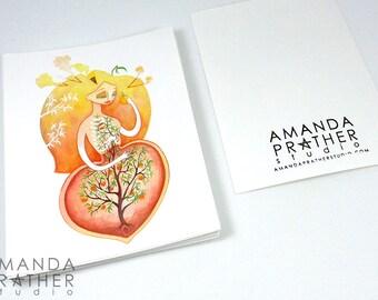Fruit Lady Peach Small Art Print // 4.25x5.5 Card // Illustration Painting // Surreal Pop
