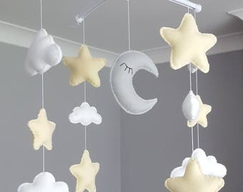 Sale! Gorgeous star cloud moon mobile musical cot mobile star nursery white grey beige