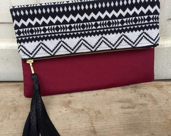 Fold Over Clutch, Woven Tribal Print paired with Burgandy Cotton Fabrics, Fully Lined with an inside pocket