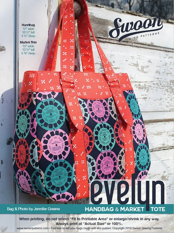 Swoon Patterns: Evelyn Tote & Handbag PDF Tote Bag Purse