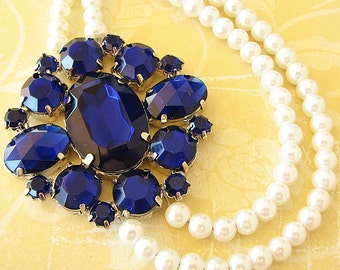 Statement Necklace Bridal Necklace Navy Blue Wedding Jewelry Cobalt Blue Necklace Pearl Necklace