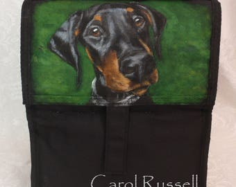 Freezable Lunch Bag hand painted with YOUR pet's portrait
