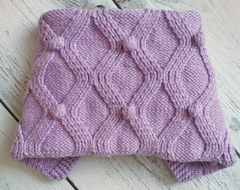 "Knitted Baby plaid ""Bobbles"" - Lilac"