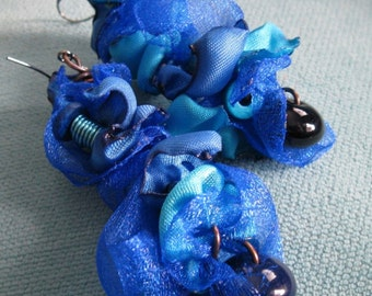 SARAI. Collage Collection. blue. mixed media textile dangle earrings