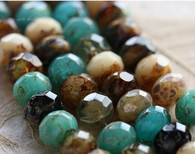 OCEANSIDE .. 25 Premium Picasso Mix Czech Rondelle Beads 6x8-9mm (4500-st)
