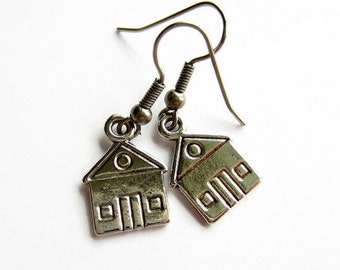 House Earrings, Fun Gift, Housewarming Gift, New Home Gift, Hypoallergenic, Surgical Steel, Stainless Steel