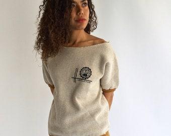 Vintage Cotton Blend Sweatshirt Tee | Short Sleeve Tee Sweat | Striped Cotton Sweatshirt | Carleton  lounge shirt | Small Sweater