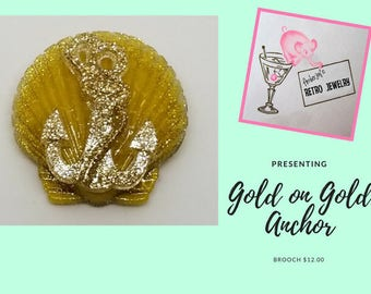 Gold on Gold Shell & Anchor Brooch
