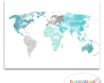 Large World Map Print, Aqua, Turquoise and Green, Watercolor map, Printable Wedding or Travel Map, Push pin map, World pin map, pushpin map