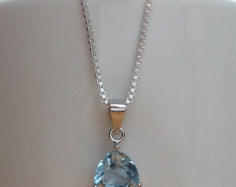 Trillion-cut blue topaz sterling silver necklace