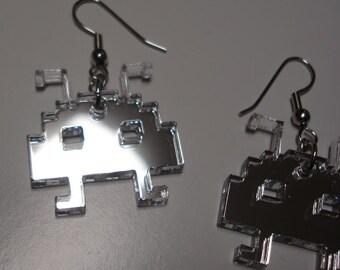 Space Pixelated Alien Acrylic Earrings