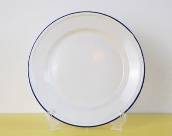 Vintage Enamel Plate, Rustic Bumper Harvest White and Blue Enamelware Plate, Vintage Metal Dinner Plate