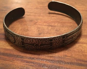 WOHELO camp fire girls hammered silver cuff signed HLP