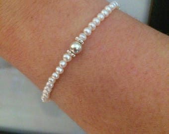 White Freshwater seed Pearl STRETCH Bracelet Sterling Silver small pearl Bracelet simple skinny bracelet real small pearl jewellery gift box