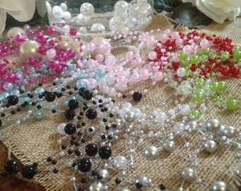 10yards Pearl Beaded Garland (8+3mm Pearls) Used for Creating The Floating Beaded Pearl Centerpiece