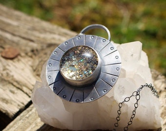 SUNSHINE GLITTER PENDANT - Glitter Therapy - Anxiety Relief - Stress Relief - Sterling Silver Pendant - Gift For Her
