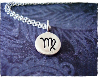 Virgo Horoscope Sign Necklace - Sterling Silver Virgo Charm on a Delicate Sterling Silver Cable Chain or Charm Only