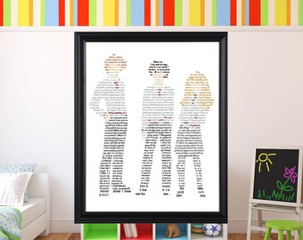 The Golden Trio in Text Wall Art Harry Potter Art Harry Potter Hermione Granger Ron Weasley
