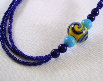 Seed Bead Necklace - Multi Strand Necklace - Lampwork Bead Necklace - Glass Bead Necklace - Blue Necklace - Yellow Necklace - Handmade