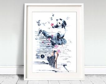 Girl hip hop dance poster. Watercolor print. Girl watercolor art print. Wall art, wall decor, digital print.