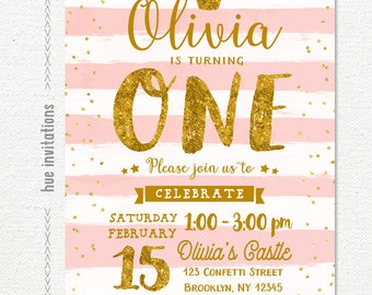 pink gold 1st birthday invitation for girl, princess girls birthday party invitation, blush pink white stripes gold glitter crown confetti