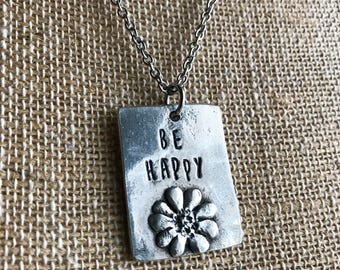 Personalized Flower Necklace - Personalized Necklace -Hand Stamped Necklace- Statement Necklace
