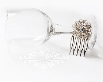 Wedding jewelry Rhinestone Snowflake Hair Comb Rhinestone flower hair comb Bridal hair comb Bridesmaids hair comb headpiece - NELLIE