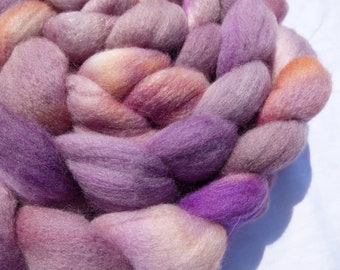 Pink Polwarth and Mulberry Silk Blend - Hand Dyed Wool Roving (Top) - 100g