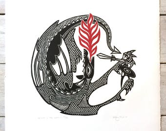 George and the Dragon print - two-colour hand printed medieval-style linocut / linoprint (30cm x 30 cm, limited edition signed by artist)
