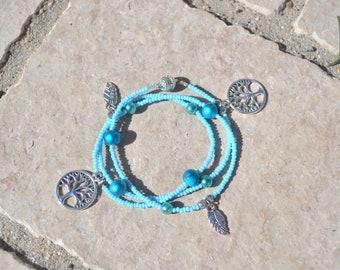 turquoise blue bracelet, tree of life/leaf charm