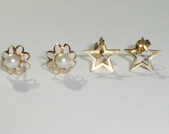 Two Pairs of Dainty 10K Yellow Gold Post Earrings, Stars and Pearl
