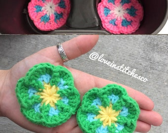 Flower Car Cup Holder Coaster (set of 2), crochet cup liners, crochet coasters, car accessories