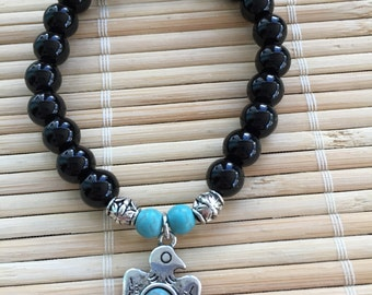 Bird Beaded Bracelet Wrist Mala Black Onyx Meditation Beads Natural Gemstone Healing Man's Bracelet Woman's Bracelet