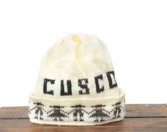 Vintage Minimal Cusco Persu South America Beanie Knit Ski Warm Winter Hat Cap Toque