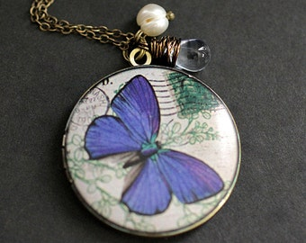 Blue Butterfly Locket Necklace. Butterfly Necklace with Pale Blue Teardrop and Fresh Water Pearl. Handmade Jewelry.