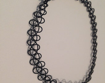 Black 90's Tattoo Stretch Choker
