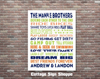 Brothers Sign, Brothers Wall Art, Boys Room Decor, Brothers Room Decor,DIGITAL, YOU PRINT,  Personalized Custom Brothers Art