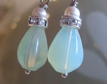 Celadon Drop earrings, Sterling Silver Dangle Earrings. bridal accessory, bridesmaids earrings