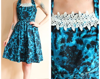 1950s Dress // Dark Floral Halter Dress // vintage 50s dress