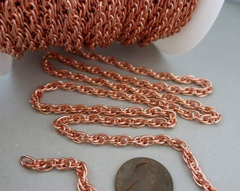 """COPPER Rope Chain, 4.2mm wide, 6"""" to 36"""" choose your length, Bulk Chain by the Inch, Made In USA"""