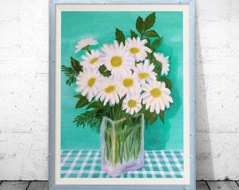 Flowers Print, summer bouquet, Bouquet poster, camomile bouquet print, camomile printable, 8x10-20x30 inch instant download, botanical print