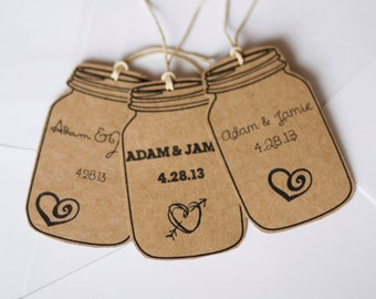 Mason Favor Tags with Personalization | Rustic, Mason Jar Tags with Twine | Set of 10