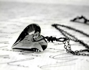 Heart Necklace Swarovski Crystal Sterling Silver Oxidized Romeo and Juliet Wire Wrapped Under 30 Valentine